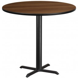 Round Walnut Laminate Table Tops with Bar Height Table Bases - 4 Sizes Available