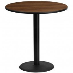 Round Walnut Laminate Table Tops with Round Bar Height Table Bases - 4 Sizes Available