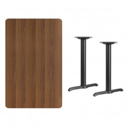 Rectangular Walnut Laminate Table Tops with 5'' x 22'' Table Height T-Bases - 3 Sizes Available