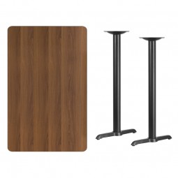 Rectangular Walnut Laminate Table Tops with 5'' x 22'' Bar Height Table T-Bases - 3 Sizes Available