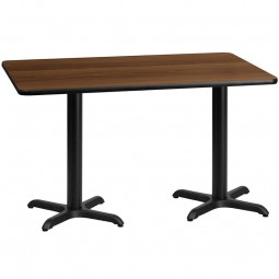 Square and Rectangular Walnut Laminate Table Tops with Table Height X-Bases - Multiple Sizes Available