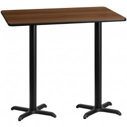 Rectangular Walnut Laminate Table Tops with Bar Height Table X-Bases - Multiple Sizes Available