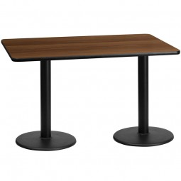 Square and Rectangular Walnut Laminate Table Tops with Round Table Height Bases - Multiple Sizes Available