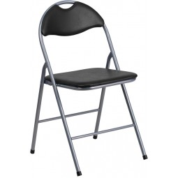 Signature Series Black Vinyl Metal Folding Chair with Carrying Handle