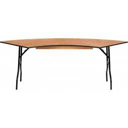 Serpentine Wood Folding Banquet Table - 3 Sizes Available