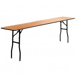 Rectangular Wood Folding Training / Seminar Tables with Smooth Clear Coated Finished Top - 2 Sizes Available