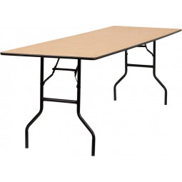 Rectangular Wood Folding Banquet Tables with Clear Coated Finished Top - 3 Sizes Available