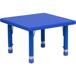 24'' Square Height Adjustable Plastic Activity Tables - 3 Colors Available