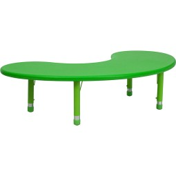 35''W x 65''L Height Adjustable Half-Moon Plastic Activity Tables - 3 Colors Available