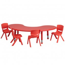 35''W x 65''L Adjustable Half-Moon Plastic Activity Table Sets with 4 School Stack Chairs - 3 Colors Available