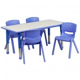 23.625''W x 47.25''L Adjustable Rectangular Plastic Activity Table Sets with 4 School Stack Chairs - 3 Colors Available