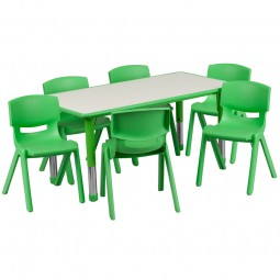 23.625''W x 47.25''L Adjustable Rectangular Plastic Activity Table Sets with 6 School Stack Chairs - 3 Colors Available
