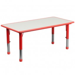 23.625''W x 47.25''L Height Adjustable Rectangular Plastic Activity Tables with Gray Top - 3 Colors Available