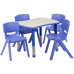 21.875''W x 26.625''L Adjustable Rectangular Plastic Activity Table Sets with 4 School Stack Chairs - 3 Colors Available