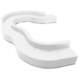Signature Alon Series White Leather Reception Configuration, 11 Pieces