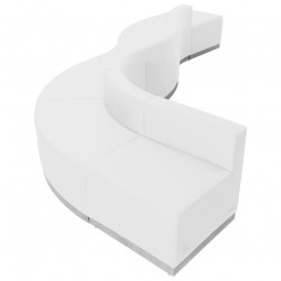 Signature Alon Series White Leather Reception Configuration, 6 Pieces