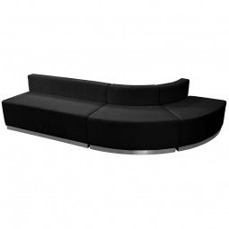 Signature Alon Series Black Leather Reception Configuration, 3 Pieces