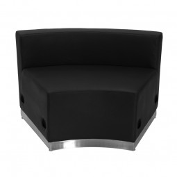 Signature Alon Series Black Leather Concave Chair with Brushed Stainless Steel Base