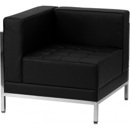 Signature Imagination Series Contemporary Black Leather Left Corner Chair with Encasing Frame