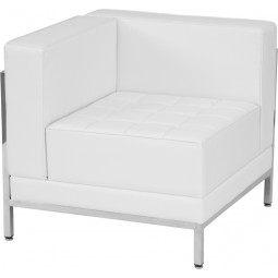 Signature Imagination Series Contemporary White Leather Left Corner Chair with Encasing Frame