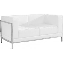 Signature Imagination Series Contemporary Leather Love Seat with Encasing Frame - 2 Color Options