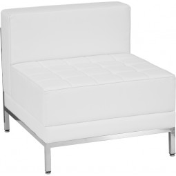 Signature Imagination Series Contemporary White Leather Middle Chair