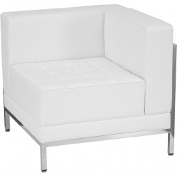 Signature Imagination Series Contemporary White Leather Right Corner Chair with Encasing Frame
