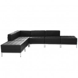 Signature Imagination Series Black Leather Sectional Configuration, 6 Pieces