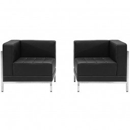 Signature Imagination Series Black Leather 2 Piece Corner Chair Set