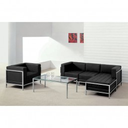 Signature Imagination Series Black Leather Sectional & Chair, 5 Pieces