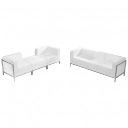 Signature Imagination Series White Leather Sofa & Lounge Chair Set, 4 Pieces