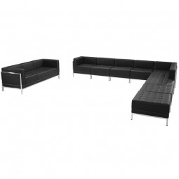 Signature Imagination Series Black Leather Sectional & Sofa Set, 10 Pieces