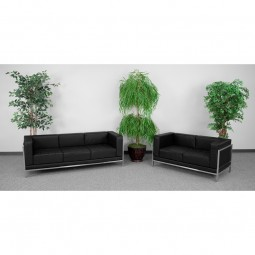 Signature Imagination Series Black Leather Sofa & Love Seat Set