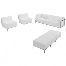 Signature Imagination Series White Leather Sofa, Chair & Ottoman Set