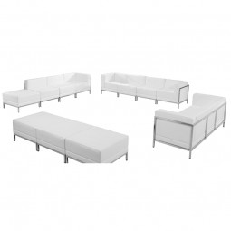 Signature Imagination Series White Leather Sofa, Lounge & Ottoman Set, 12 Pieces