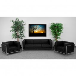 Signature Imagination Series Black Leather Sofa & Chair Set