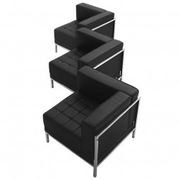Signature Imagination Series Black Leather 3 Piece Corner Chair Set