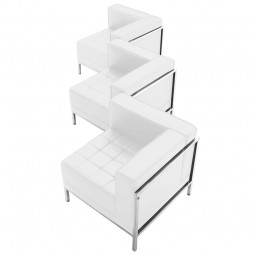 Signature Imagination Series White Leather 3 Piece Corner Chair Set