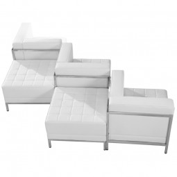 Signature Imagination Series White Leather 5 Piece Chair & Ottoman Set