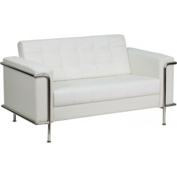 Signature Lesley Series Contemporary White Leather Love Seat with Encasing Frame