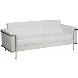 Signature Lesley Series Contemporary White Leather Sofa with Encasing Frame