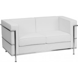 Signature Regal Series Contemporary Leather Love Seat with Encasing Frame - 2 Seat Options