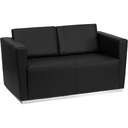 Signature Trinity Series Contemporary Black Leather Love Seat with Stainless Steel Base