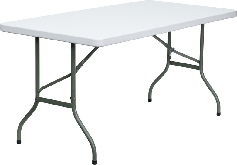 Square And Rectangular Granite White Plastic Folding Tables Multiple Sizes Available