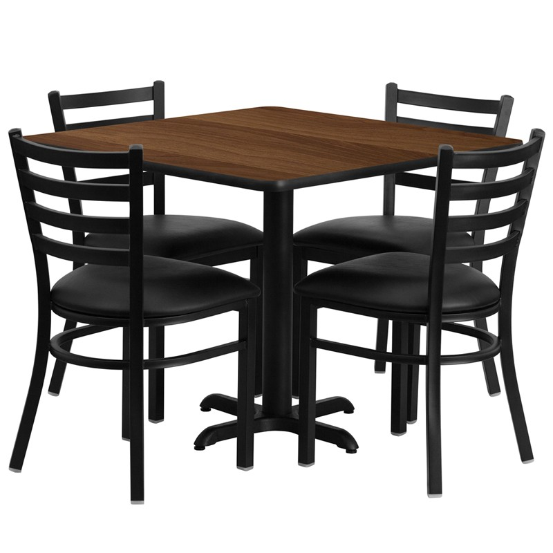 36u0027u0027 Square Laminate Table Set With 4 Ladder Back Metal Chairs   Black  Vinyl Seat   4 Table Colors