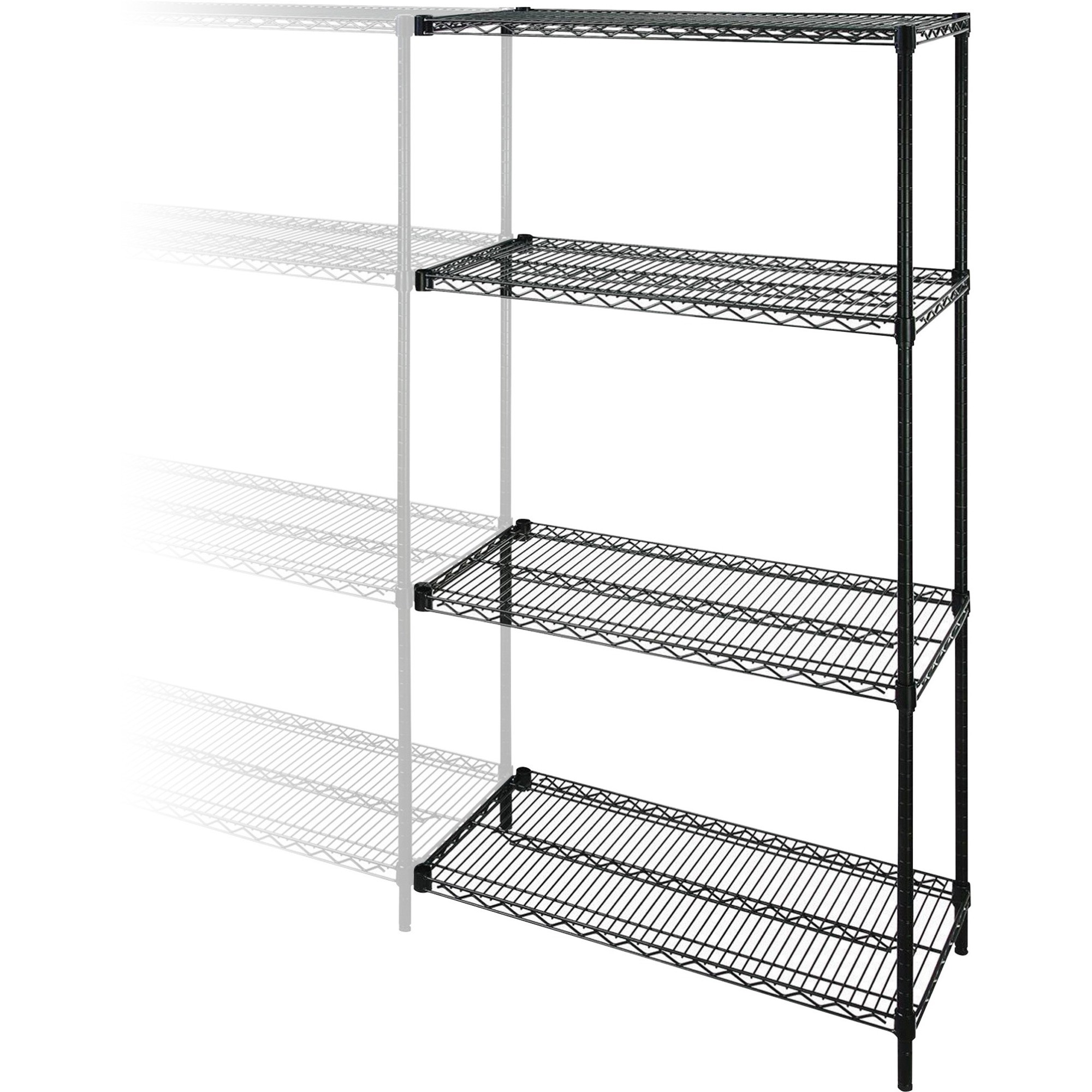lorell industrial wire shelving units 48w x 18d x 72h black - Wire Shelving Units