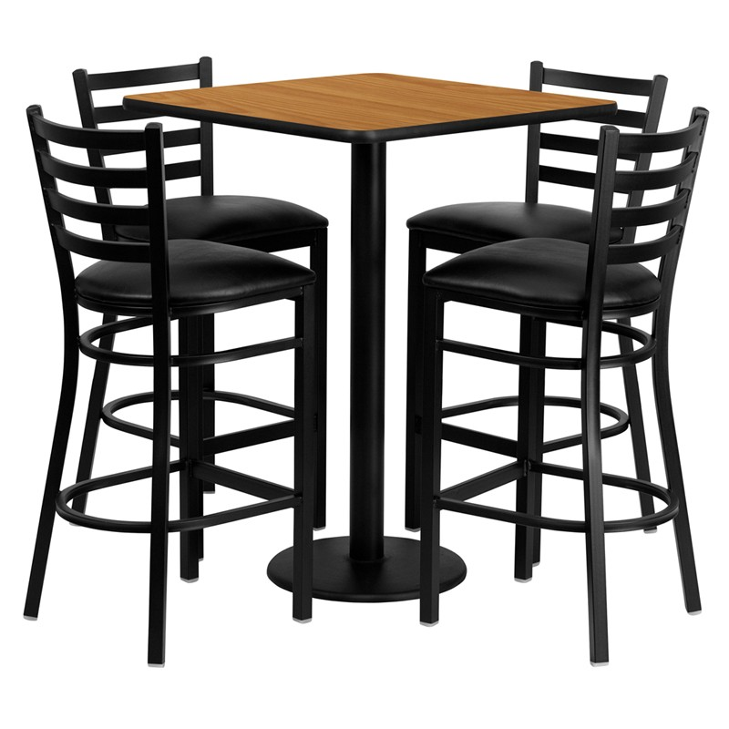 30 Square Laminate Table Set With 4 Ladder Back Metal Bar Stools 3 Styles Available