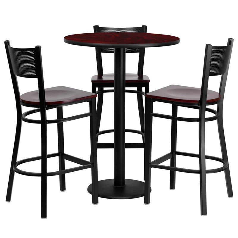 30u0027u0027 Round Laminate Table Set with 3 Grid Back Metal Bar Stools - 3 Styles Available  sc 1 st  School Furniture Depot & 30u0027u0027 Round Mahogany Laminate Table Set with 3 Grid Back Metal Bar ...