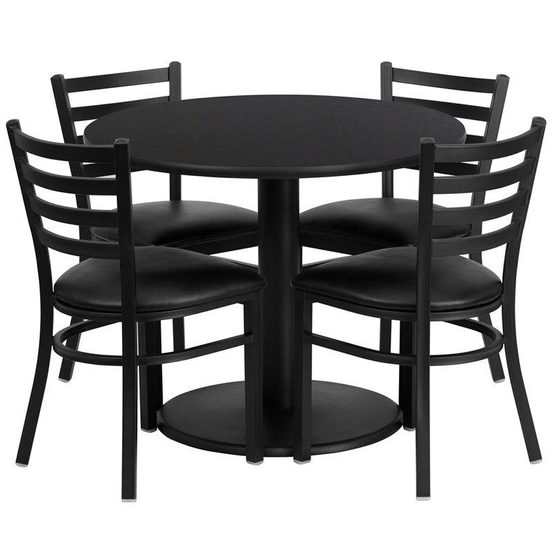 36u0027u0027 Round Laminate Table Set With 4 Ladder Back Metal Chairs   4 Styles  Available