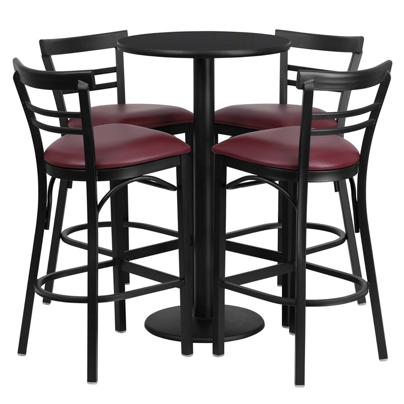 24u0027u0027 Round Laminate Table Set With 4 Ladder Back Metal Bar Stools   4  Styles Available